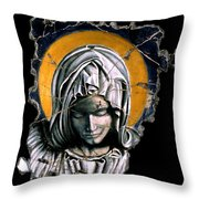 Mary Super Petram Throw Pillow by Steve Bogdanoff