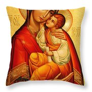 Mary The God Bearer Throw Pillow by Philip Ralley