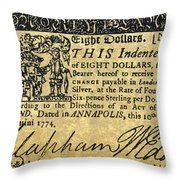Maryland Bank Note, 1774 Throw Pillow