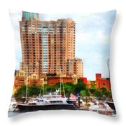 Maryland - Boats At Inner Harbor Baltimore Md Throw Pillow