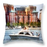 Maryland - Cabin Cruiser By Baltimore Skyline Throw Pillow