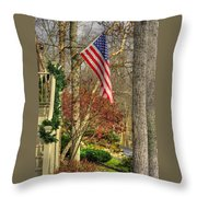 Maryland Country Roads - Flying The Colors 1a Throw Pillow by Michael Mazaika