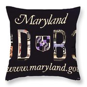 Maryland License Plate Throw Pillow