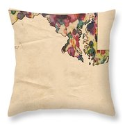 Maryland Map Vintage Watercolor Throw Pillow