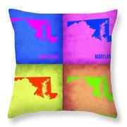 Maryland Pop Art Map 1 Throw Pillow