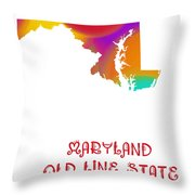 Maryland State Map Collection 2 Throw Pillow
