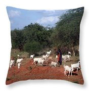 Masai Herdsman Throw Pillow