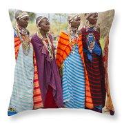 Masai Women Kenya Throw Pillow