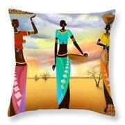 Masai Women Quest For Grains Throw Pillow