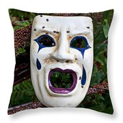 Mask And Ladybugs Throw Pillow by Garry Gay