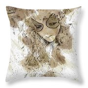 Mask Brown Water Sketch Throw Pillow