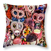 Mask Me In El Casco By Diana Sainz Throw Pillow