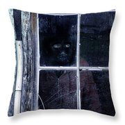 Masked Man Looking Out Window Throw Pillow