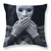 Masked Woman Throw Pillow