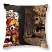 Masks In Kathmandu Nepal Throw Pillow