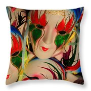 Masks Of New Orleans Throw Pillow