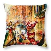 Masks Of Venice Throw Pillow