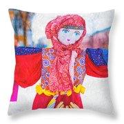 Maslenitsa Dolls 4. Russia Throw Pillow