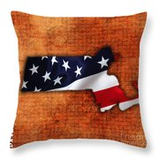 Massachusetts American Flag State Map Throw Pillow