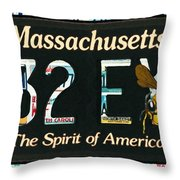 Massachusetts License Plate Throw Pillow