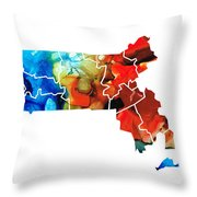 Massachusetts - Map Counties By Sharon Cummings Throw Pillow by Sharon Cummings