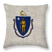 Massachusetts State Flag Throw Pillow by Pixel Chimp