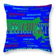 Massachusetts State Pride Map Silhouette  Throw Pillow