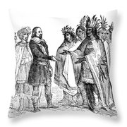 Massasoit Forges Treaty With Pilgrims Throw Pillow