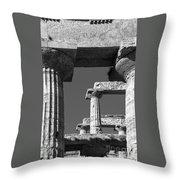 Massive Columns Of Paestum Throw Pillow