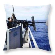 Master-at-arms Fires A .50-caliber Throw Pillow