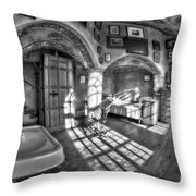 Master Bedroom At Fonthill Castlebw Throw Pillow