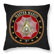 Master Mason - 3rd Degree Square And Compasses Jewel On Black Leather Throw Pillow
