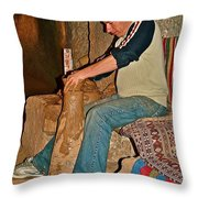 Master Potter At Work In Avanos-turkey Throw Pillow by Ruth Hager