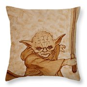 Master Yoda Jedi Fight Beer Painting Throw Pillow