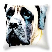 Mastif Dog Art - Misunderstood Throw Pillow by Sharon Cummings