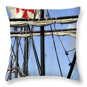 Masts And Rigging On A Replica Of The Christopher Columbus Ship  Throw Pillow