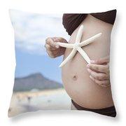 Maternity At Beach Throw Pillow