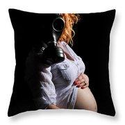 Maternity Gas Mask Throw Pillow