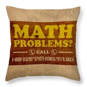 Math Problems Hotline Retro Humor Art Poster Throw Pillow by Design Turnpike