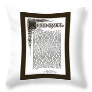 Matted Charcoal Florentine Desiderata Poster Throw Pillow