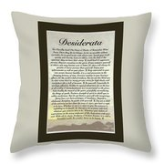 Matted Ocean Sunset Desiderata Poster Throw Pillow