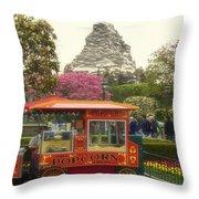 Matterhorn Mountain With Hot Popcorn At Disneyland 01 Throw Pillow