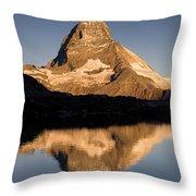 Matterhorn Reflected In Riffelsee Lake  Throw Pillow
