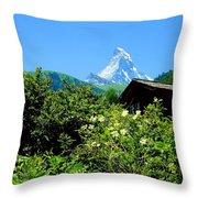 Matterhorn With Mountain Chalet Throw Pillow
