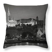 Matthias Church Night Bw Throw Pillow