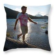 Mature Man Balances Along Log Throw Pillow