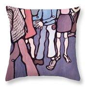 Maudsley Hospital Inmates, 1974 Oil On Canvas Throw Pillow