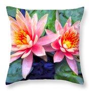 Maui Lotus Blossoms Throw Pillow