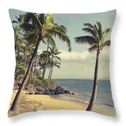 Maui Lu Beach Hawaii Throw Pillow