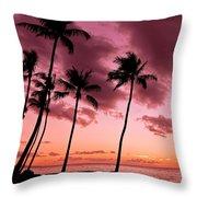 Maui Silhouette Sunset Throw Pillow